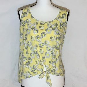 Rebellious One Crop Top Yellow W/flowers Large